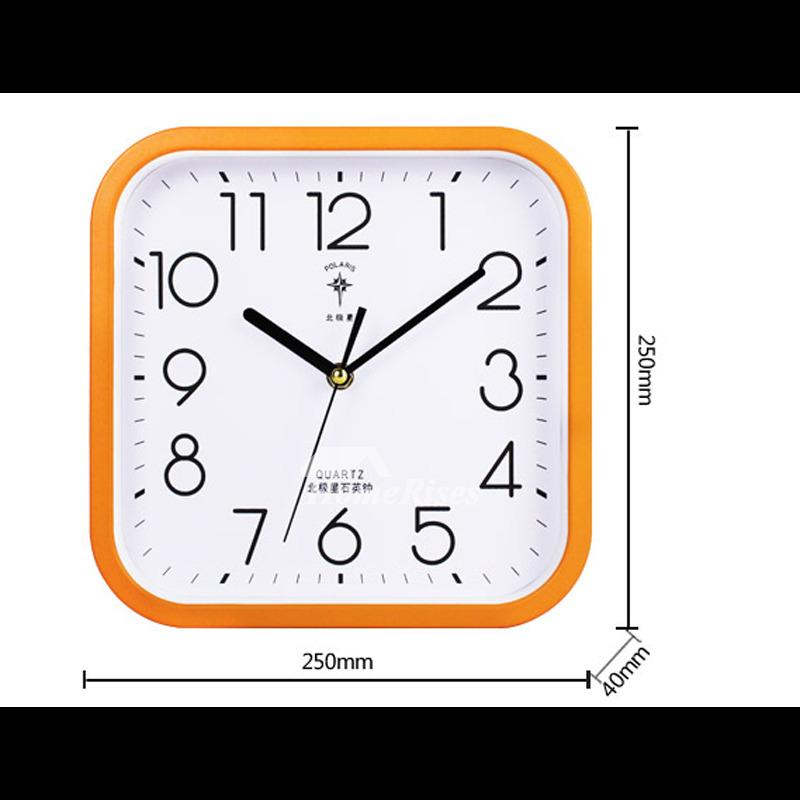 Square Wall Clock 10 Inch Small Glass Plastic Silent Blue