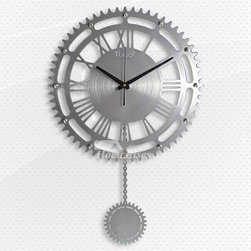 Gear Wall Clock Creative Mechanical Goldsilver Large 16 Inch Pendulum