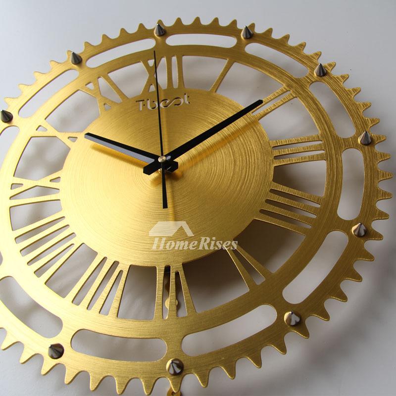 Gear Wall Clock Creative Mechanical Gold Silver Large 16