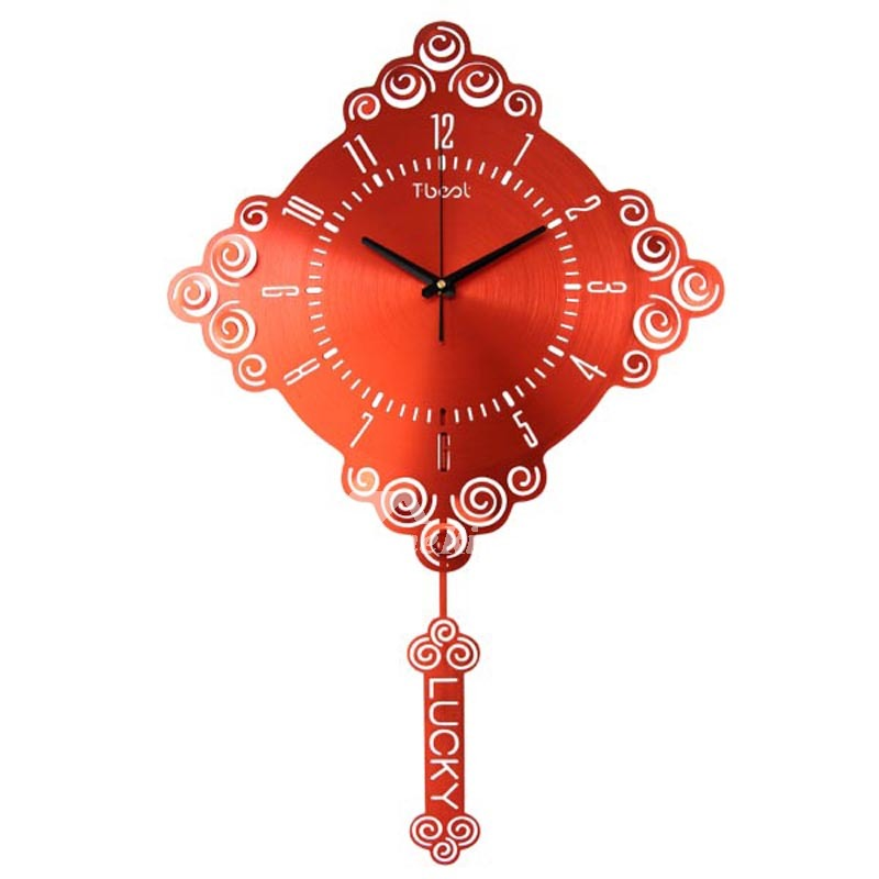 Big Wall Clocks Square Pendulum Metal Silver Red Gold 20 Inch Luxury