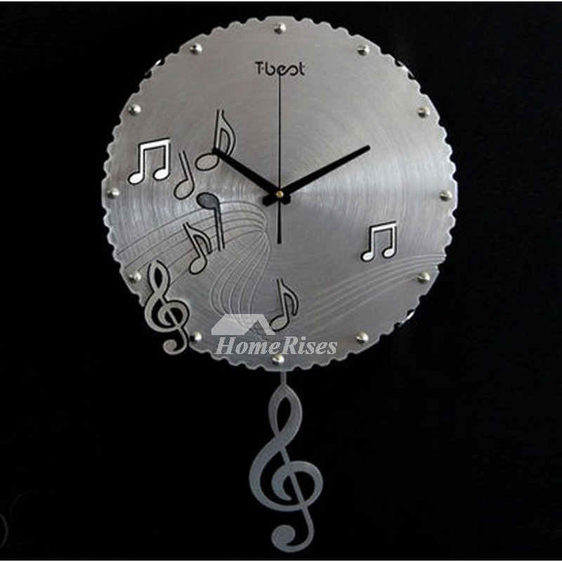 Musical Wall Clocks Silver Black Gold Round 15 Inch