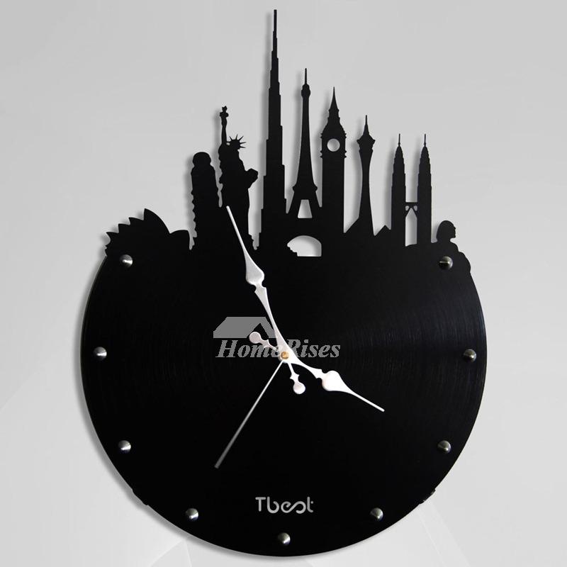 Silver Wall Clock Black Metal Novelty 14 Inch Hanging
