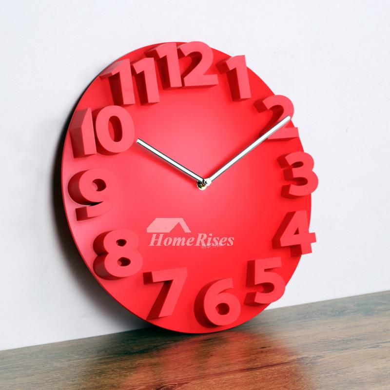 Analog Wall Clock Round White Red Black Plastic 14 Inch