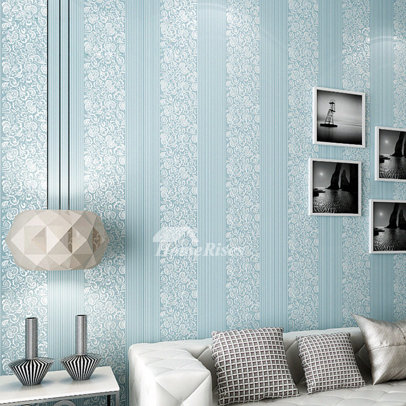 Bedroom Wallpaper Non Woven Fabric Beige/White/Blue/Pink Textured
