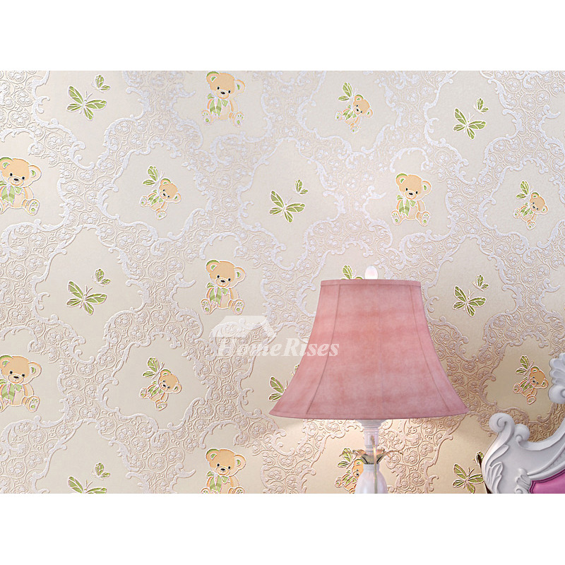 Pink Wallpaper Yellow Blue Non Woven Fabric Bear For S Nursery