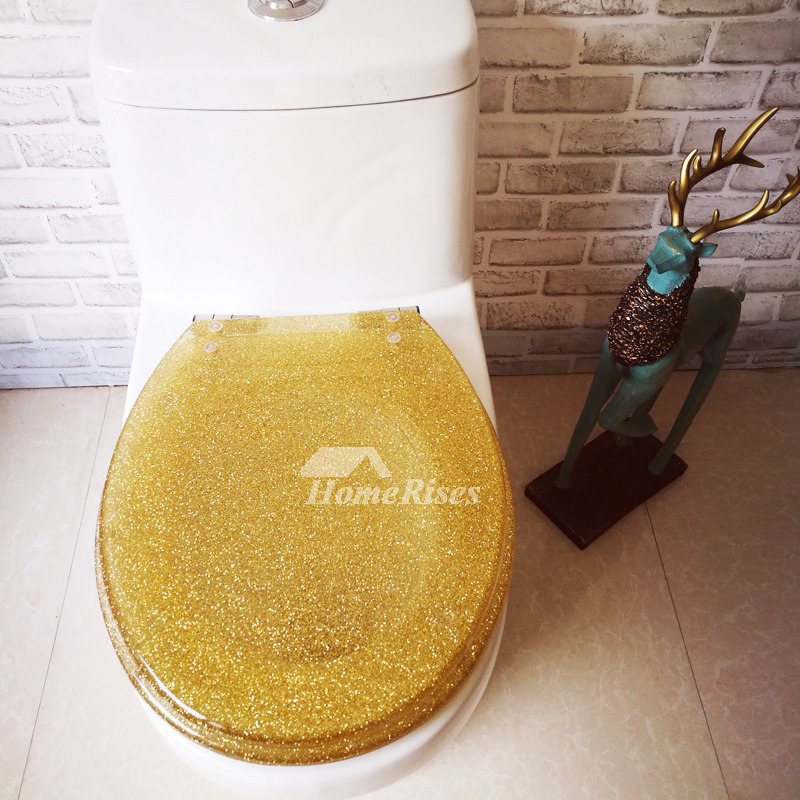 Gold Luxury Fancy Decorative Glitter Oval Soft Close Resin