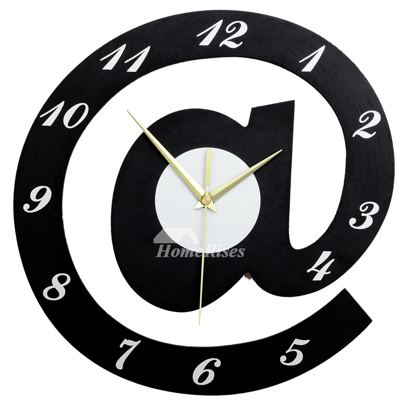 Cool Clocks Creative Black 12/16/20 Inch Large Wooden