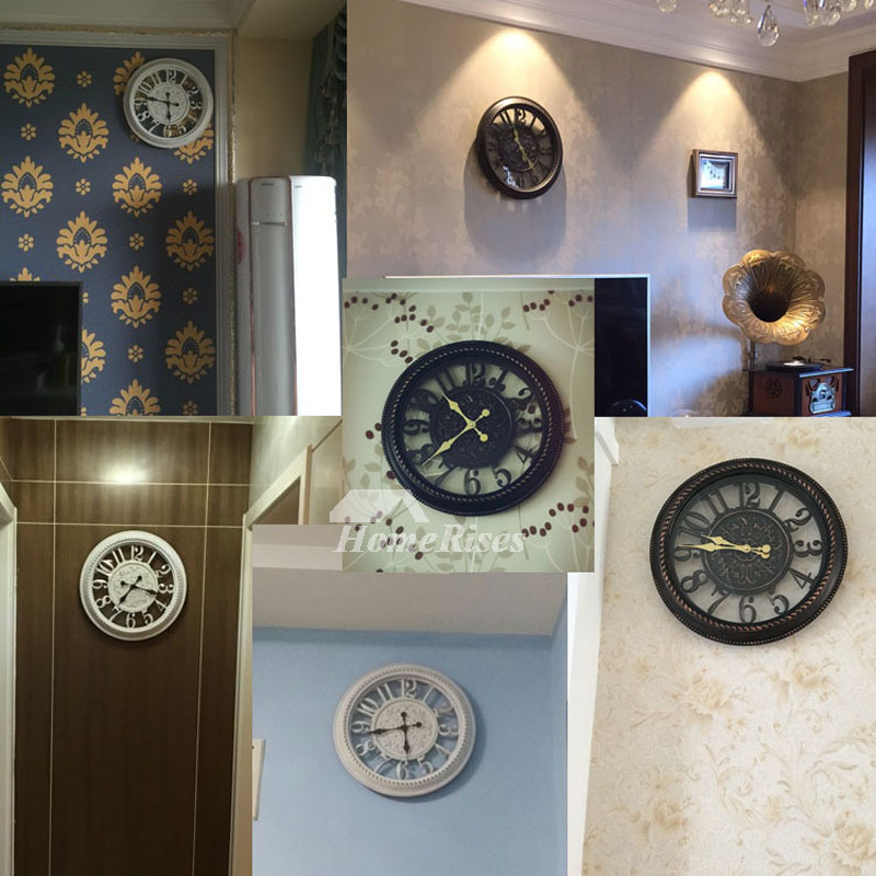 Gear Wall Clock Glass Industrial Mechanical Skeleton 16 22