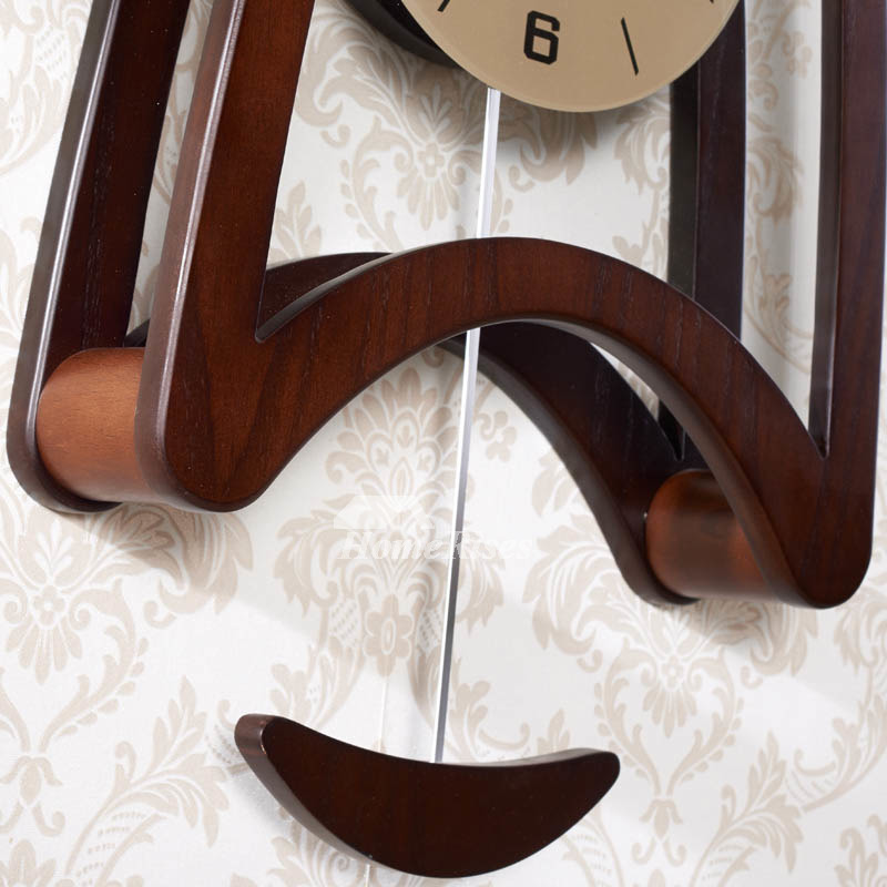 Pendulum Wall Clock Wooden Living Room Analog Glass Long