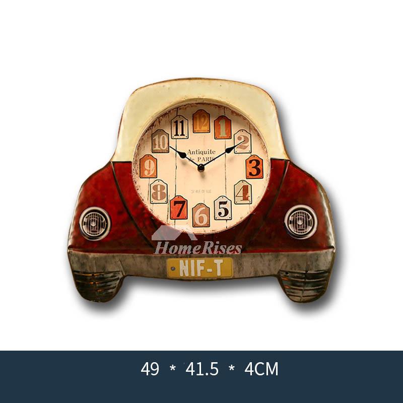 Vintage Wall Clocks Car Kids Silent Bedroom Metal Analog Novelty