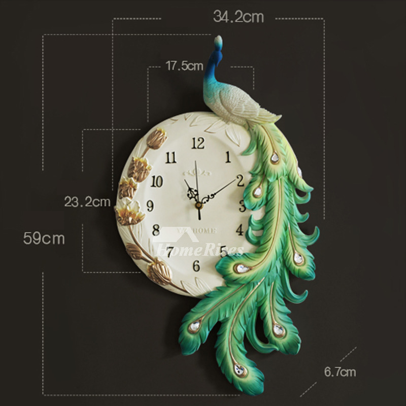 Peacock Wall Clock Silent Creative Resin Carved Living