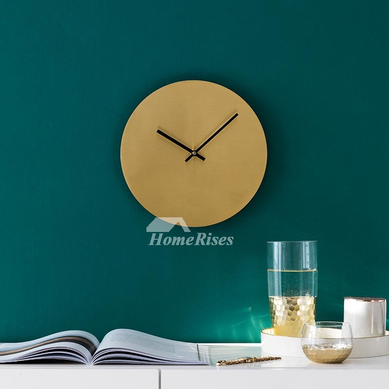 Brass Wall Clock Round 12 Inch Gold Brushed High End