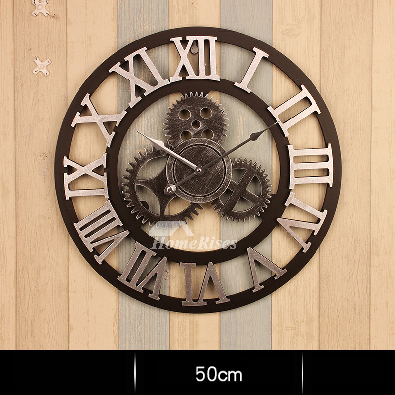Gear Wall Clock Round 20 Inch Large Mechanical Industrial