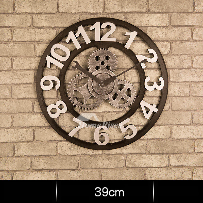 Industrial Wall Clock Gear Mechanical Round 16/20 Inch Large Skeleton