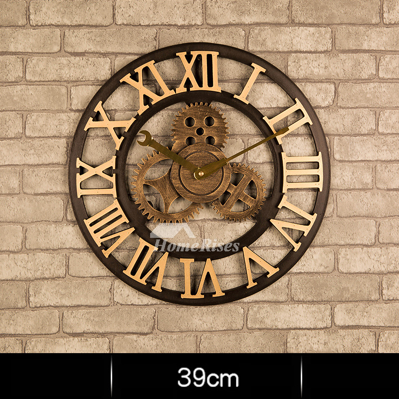 Industrial Wall Clock Gear Mechanical Round 16 20 Inch