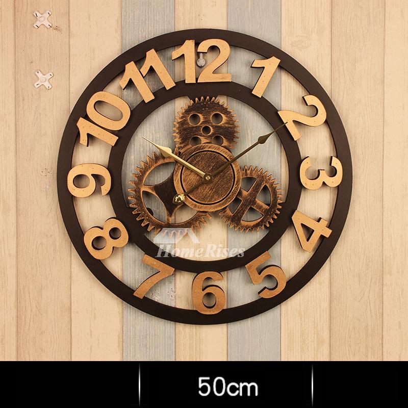 Industrial Wall Clock Gear Mechanical Round 16 20 Inch