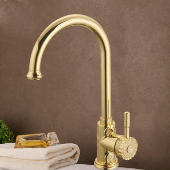 Gold Polished Brass Kitchen Faucet