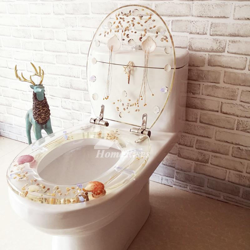 Fancy Seashell Decorative Soft Close Oval Elongated Resin