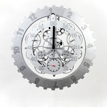 76147ce8c4e3 Stainless Steel Mechanical Wall Clock Gear Silver/Black 18 Inch Large