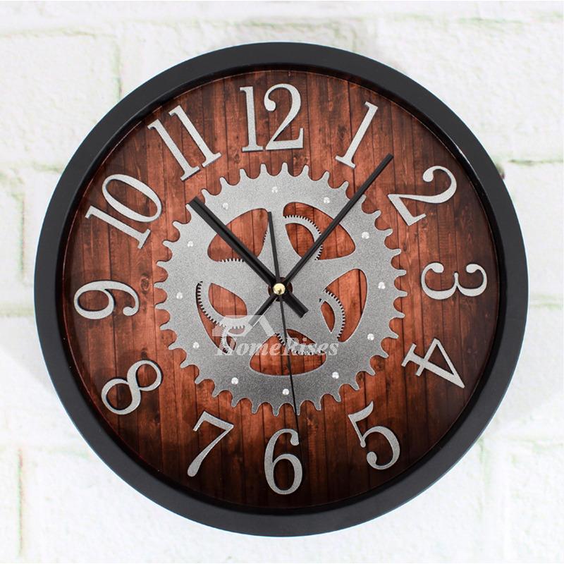 Industrial Gear Wall Clock BlackBrown Metal Mechancial Round 12 Inch