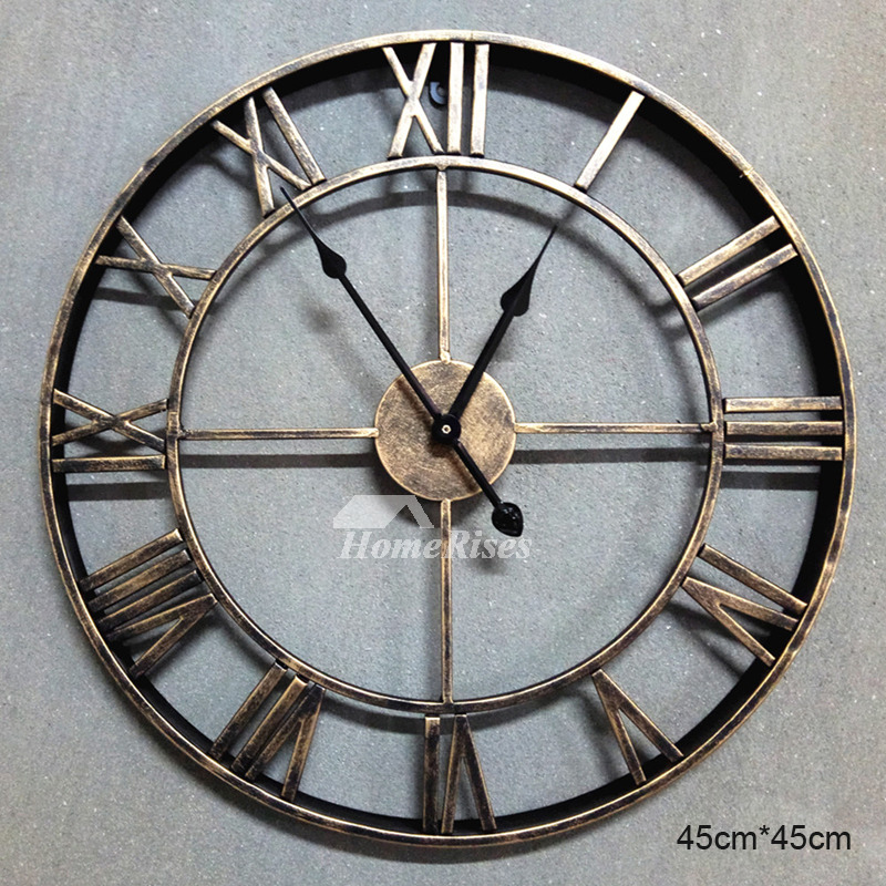 Antique Wall Clocks Round Analog Black Gold Silent