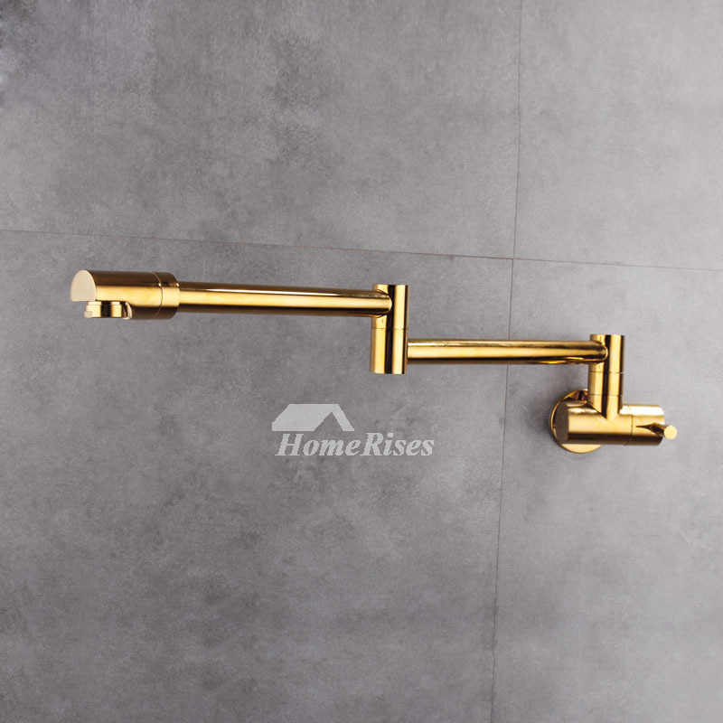 Industrial Kitchen Faucet Wall Mount Silver Gold Brushed