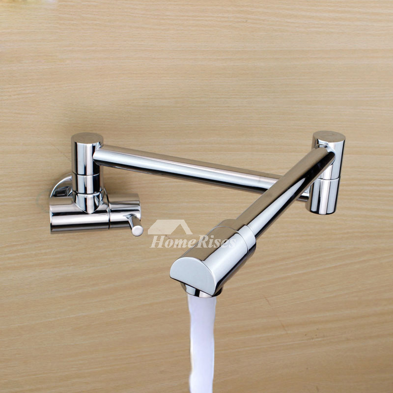 Modern Kitchen Faucets Pot Filler Wall Mount Brushed Chrome Brass