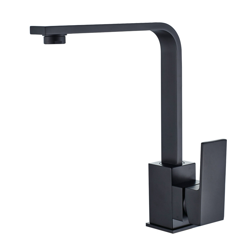 Designer Square One Handle Black Single Hole Kitchen Faucet Rotatable