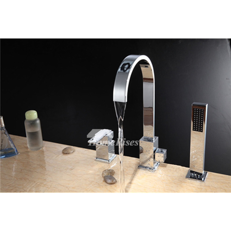 Roman Tub Faucet With Hand Shower Brass Silver Chrome Roman