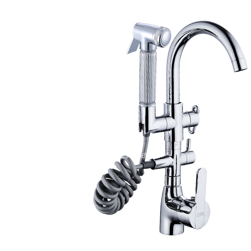 Designer Gooseneck Square Single Handle Pull Out Spray