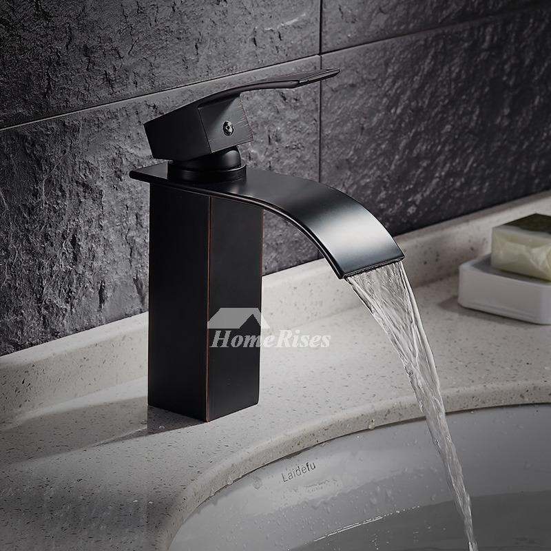 Designer Oil Rubbed Bronze Industrial Bathroom Faucet Waterfall Black