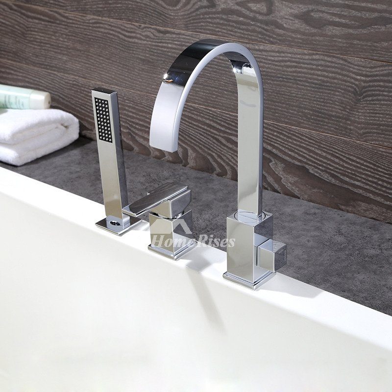 Tub Faucet With Hand Shower Silver Brass Chrome Widespread Best