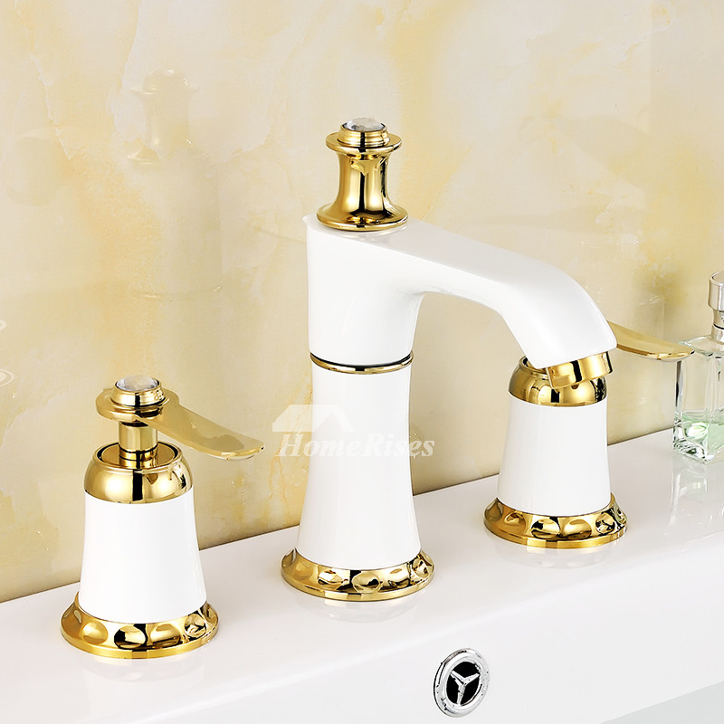 Roman Bathtub Faucet Ceramic Brass Polished Widespread 3