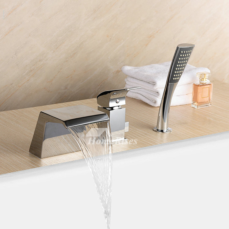 Waterfall Bathtub Faucet Brass Roman Chrome 3 Hole Pull out Spray