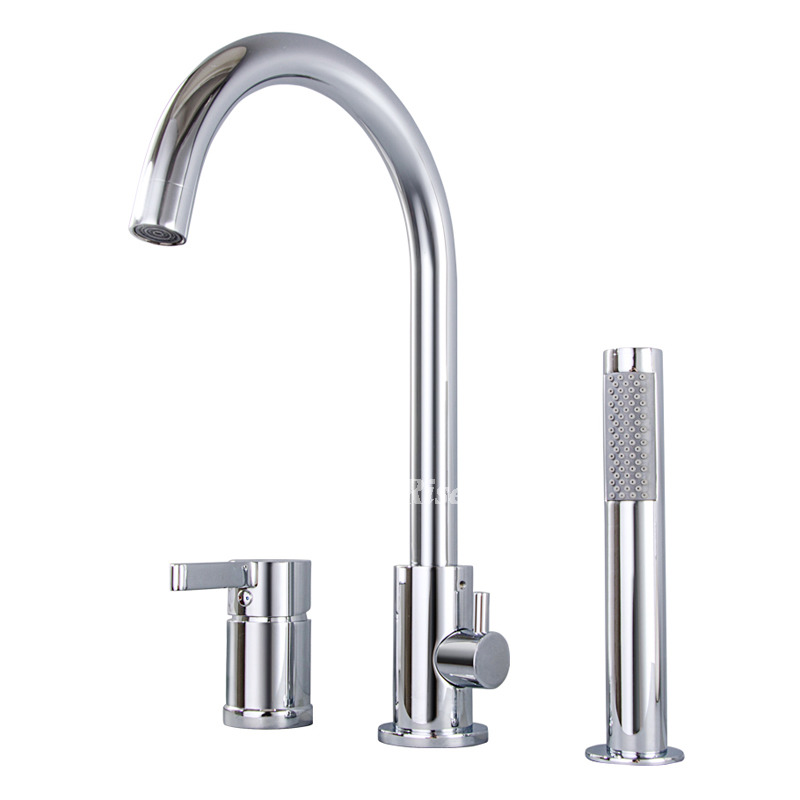 Tub Shower Faucet Silver Brass Chrome 3 Hole Hand Shower Bathroom