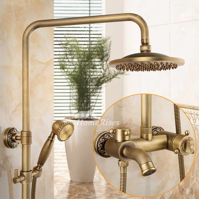 Antique Brass Brushed Wall Mount Bathroom Shower Faucet Gold Best