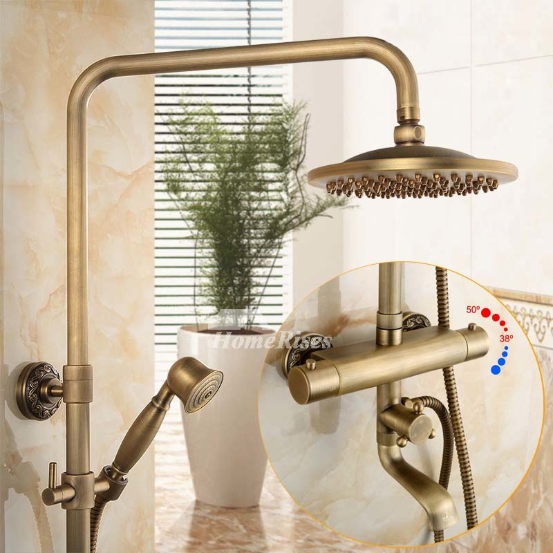 Outdoor Shower Fixtures Brushed Antique Brass Wall Mount