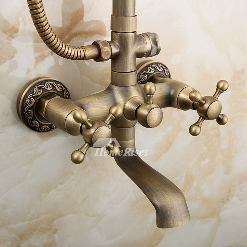 Outdoor Shower Fixtures Brushed Antique Brass Wall Mount Gold Best