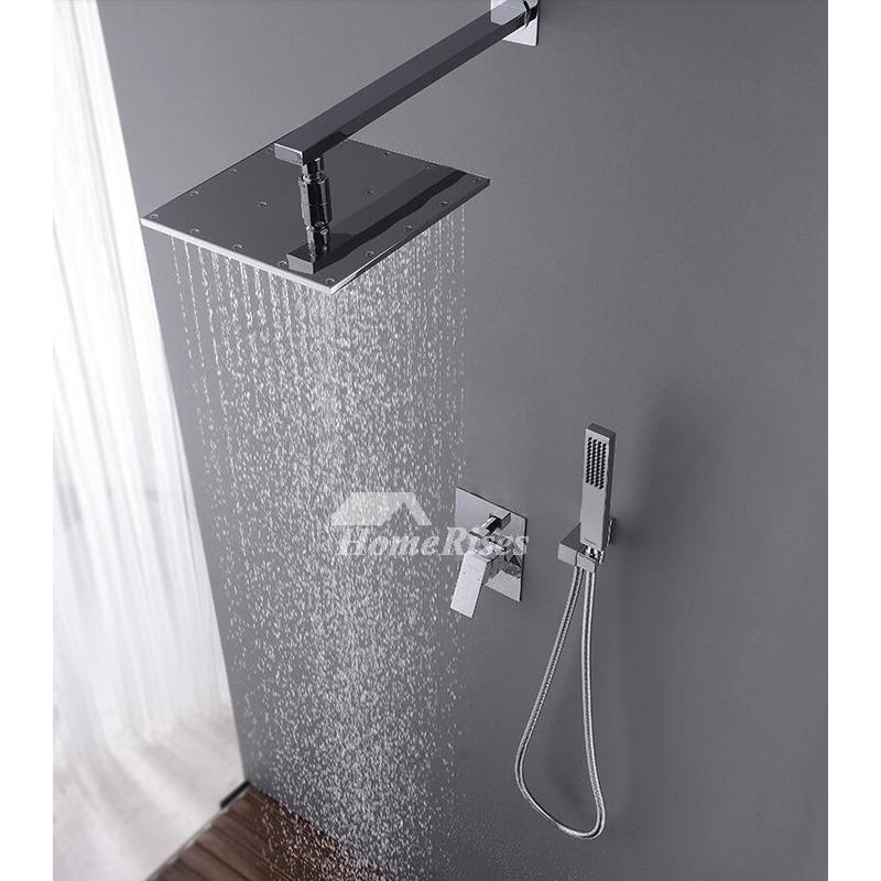 Best Shower Faucets Square Brass Chrome Wall Mount Hidden Rain