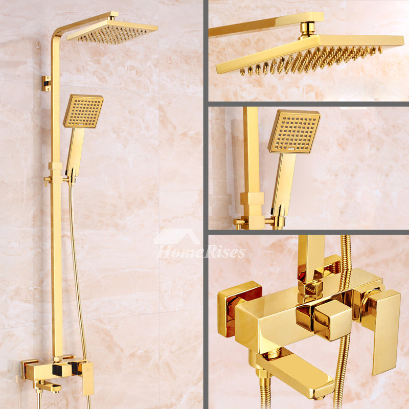 Gold Shower Faucet Polished Brass 8 Inch Top Wall Mount