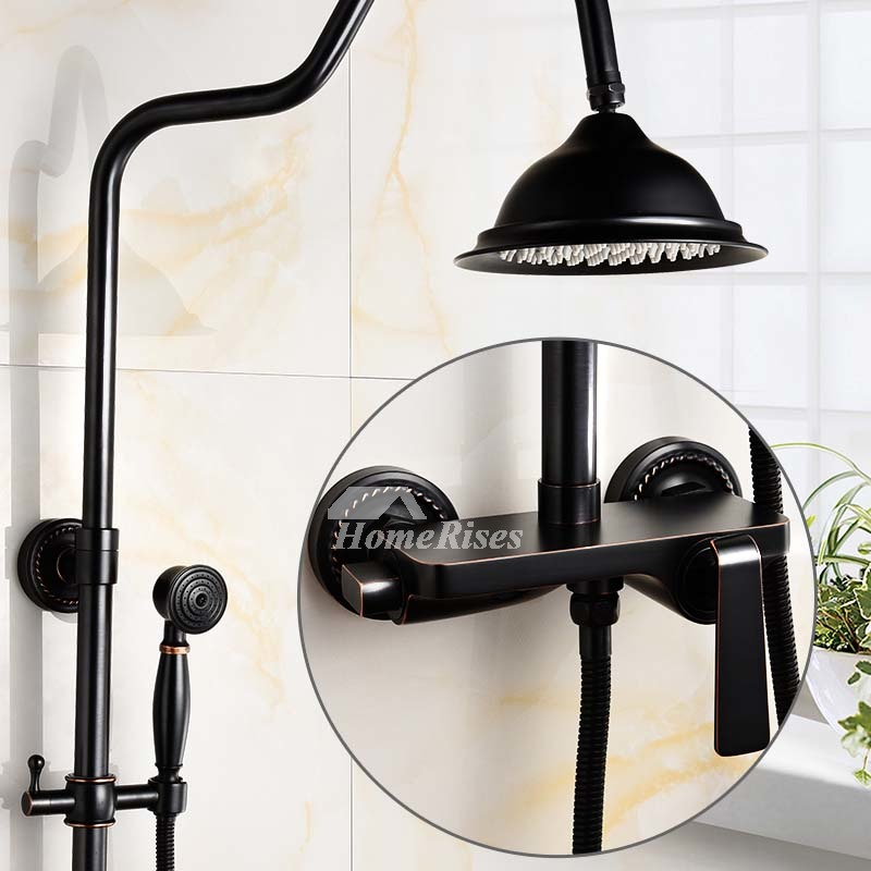 Antique Oil Rubbed Bronze Wall Mount Black Shower Faucet