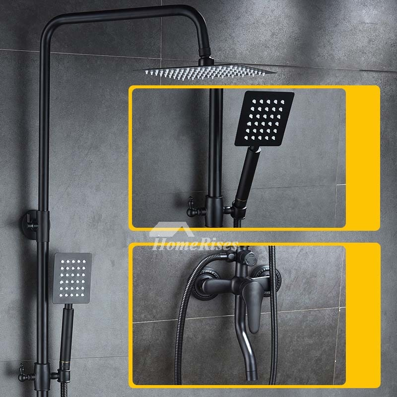 Oil Rubbed Bronze Shower Faucet Black Wall Mount Brass Filtering