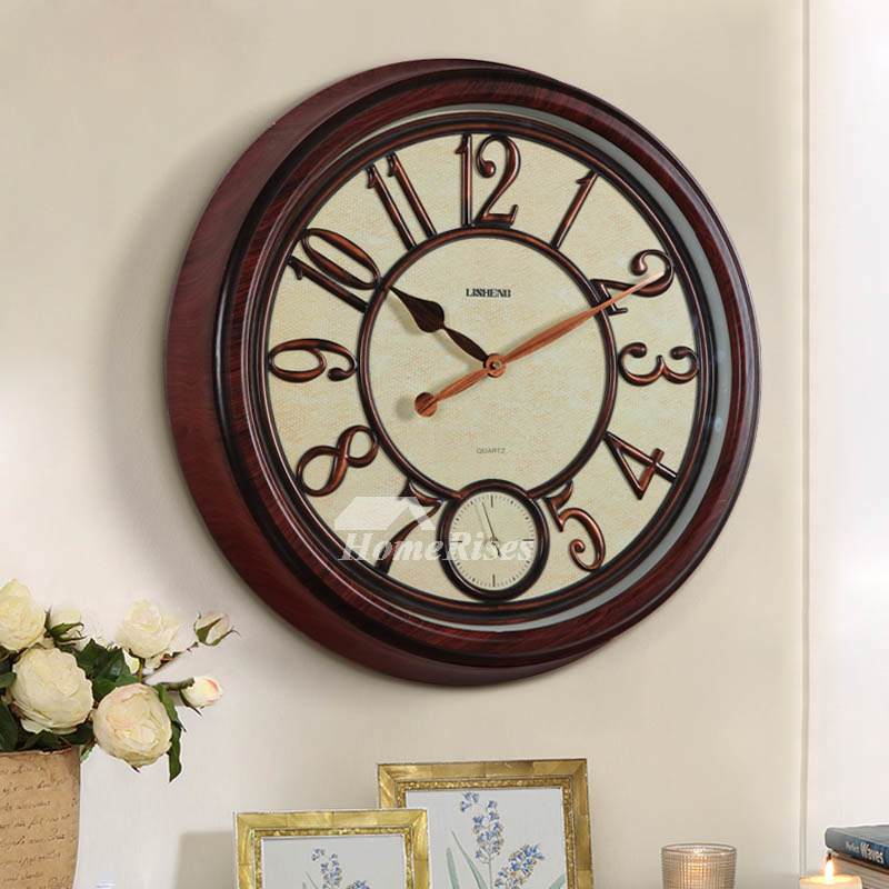 Oversized Wall Clock 20 Inch Antique Plastic Glass Round