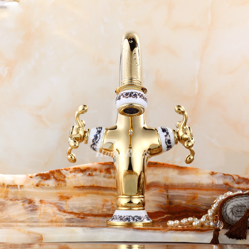 Cross Handle Bathroom Faucet Centerset Polished Brass