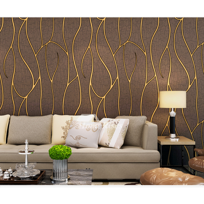 Mural Wallpaper White Brown Beige