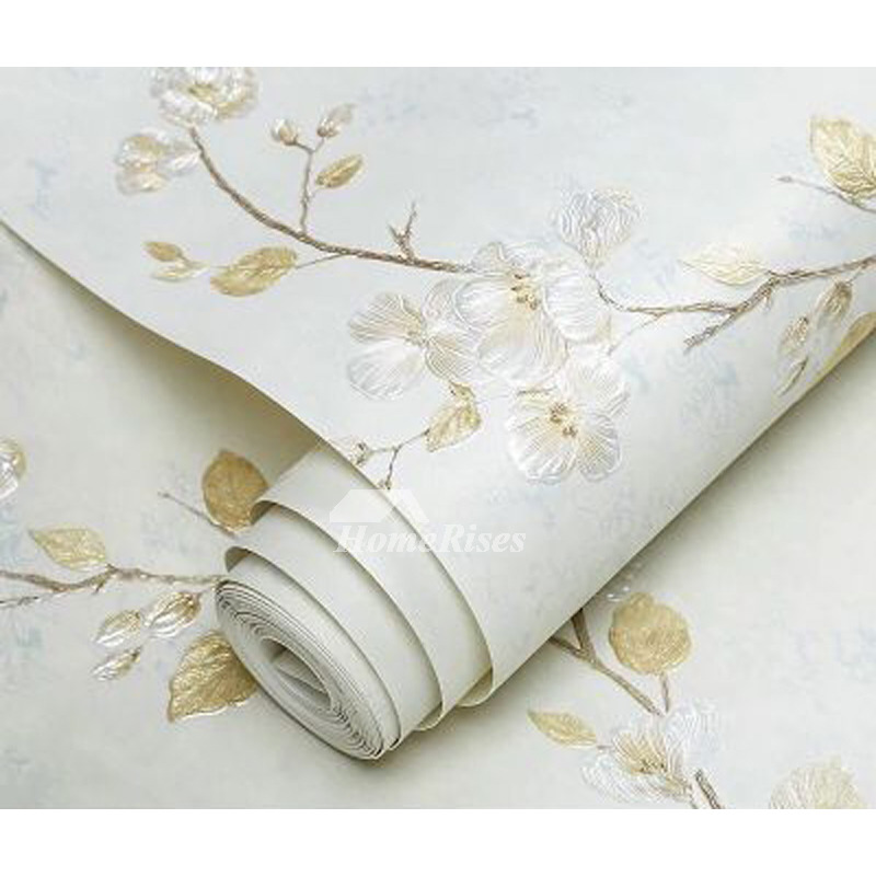 Textured Wallpaper White Embossed Modern Discount Non Woven Fabric