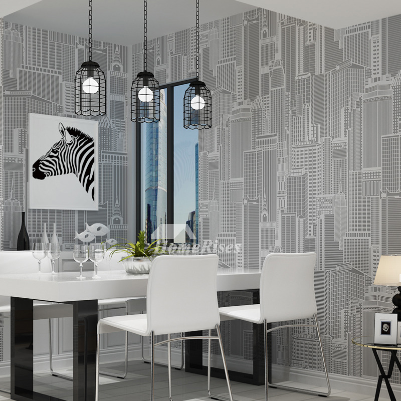 Living Room Wallpaper Textured Gray/Light Yellow Modern