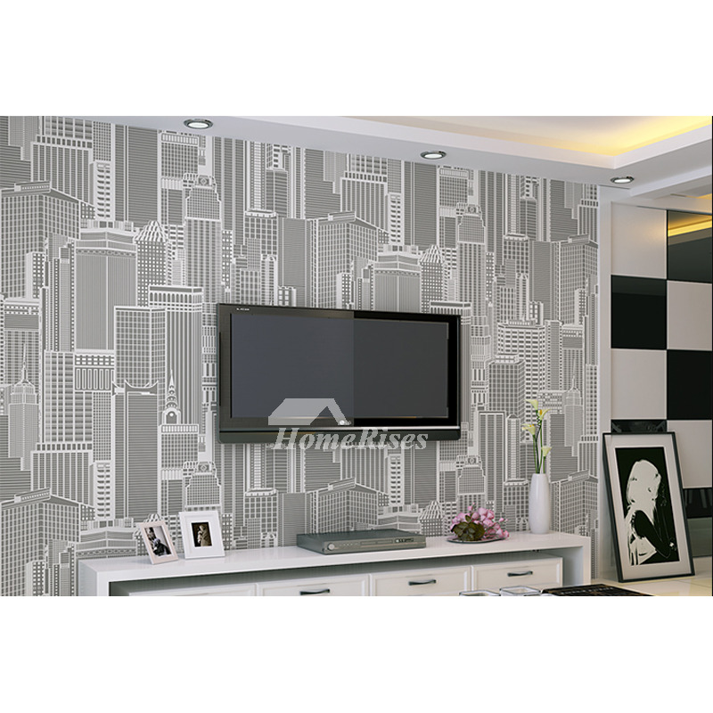 Living Room Wallpaper Textured Graylight Yellow Modern Pvc Cheap