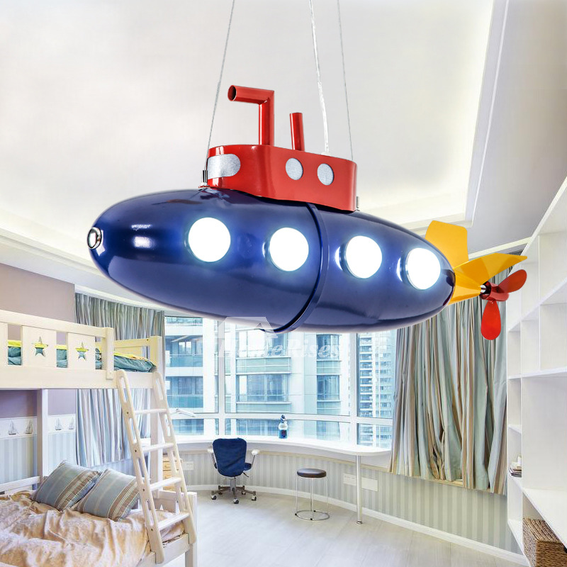 Chandelier Wrought Iron Blue Submarine