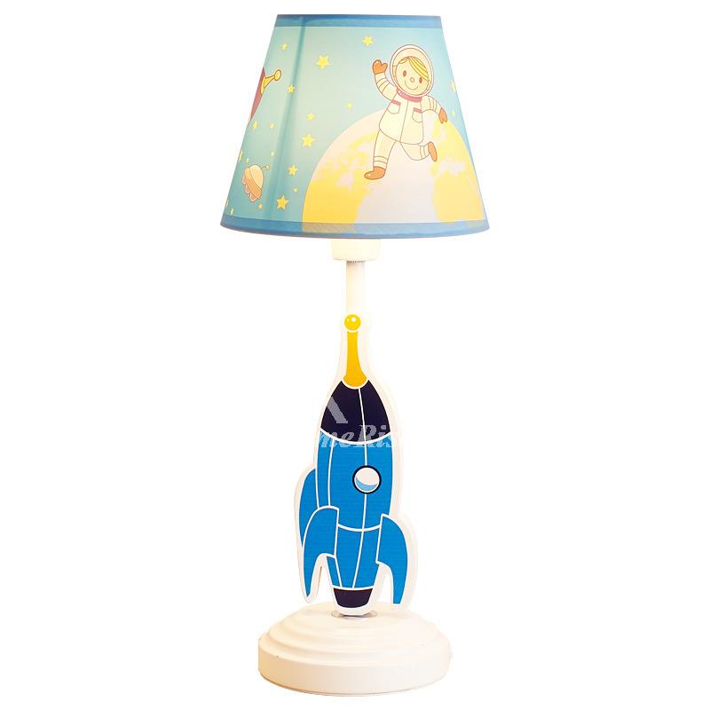 Cute Boys Lamps Decorative Cartoon Wood Fabric Bedroom Small
